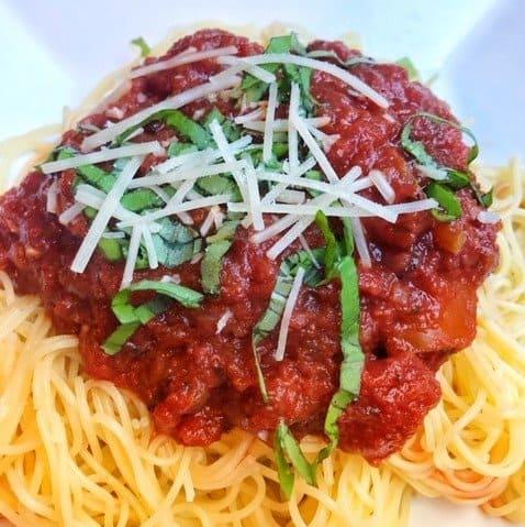 Low Sodium Pasta Sauce Over Spaghetti