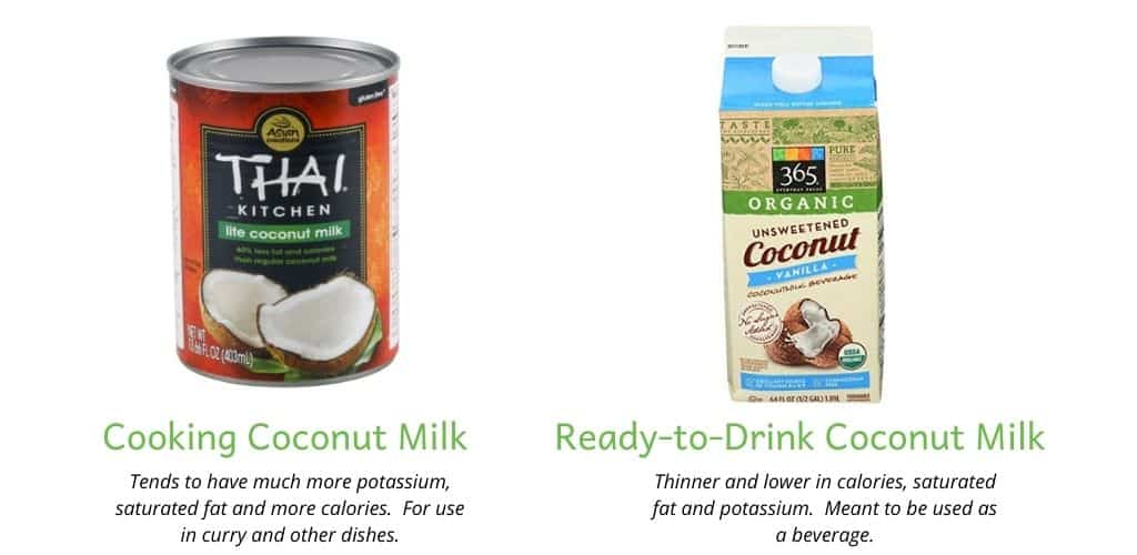 Comparison of cooking coconut milk (in a can) and ready-to-drink coconut milk.