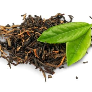 picture of dried and fresh tea leaves