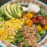 tomato and mozzarella salad topped with sunflower seeds, corn and avocado