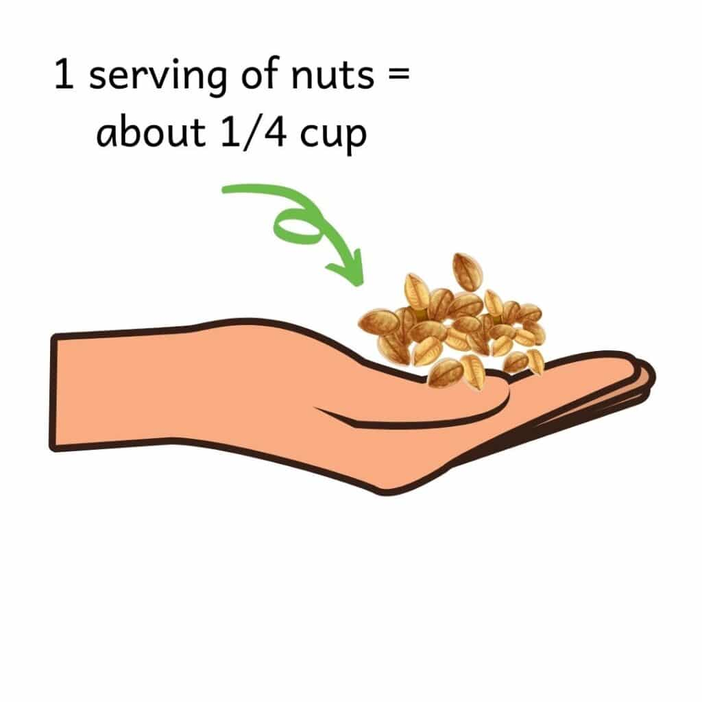 picture of a hand with a small handful of nuts on it. A serving of nuts is 1/4 cup, or a small handful