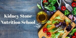 Kidney Stone Nutrition School with fresh vegetables on cutting board