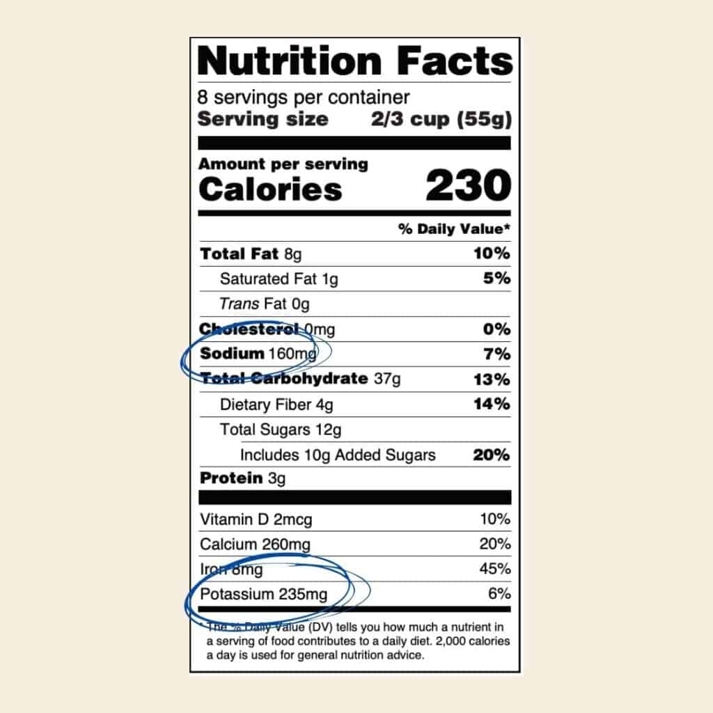 Nutrition label with sodium and potassium circled - always check for these nutrients