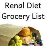 Bag of groceries with title: Downloadable Renal Diet Grocery List in text