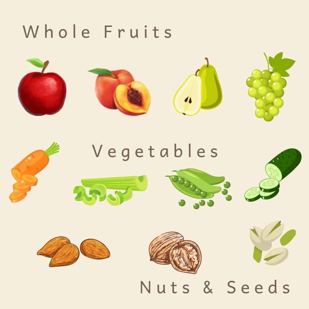 Cartoon images of renal diet snacks including whole fruits (apple, peach, pear, grapes), vegetables (carrots, celery, peas, cucumber) and nuts and seeds (almonds, walnuts and pistachios)