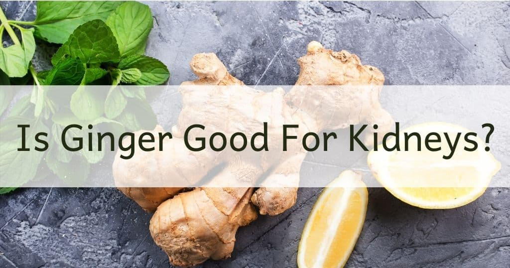 Fresh ginger, lemon and mint leaves with title: Is Ginger Good for Kidneys over the top of image