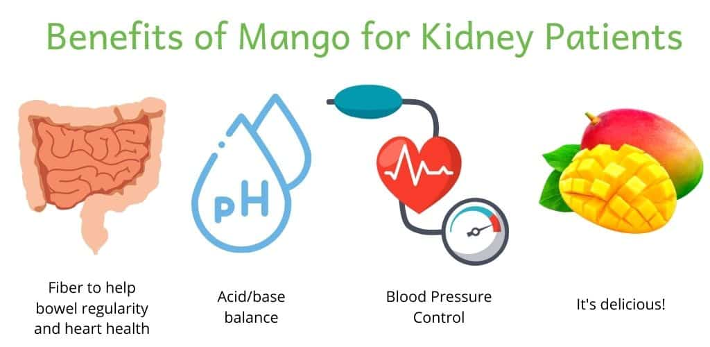 Title: Benefits of Mango for Kidney Patients. Graphic of each benefit. Intestines (fiber to help bowel regularity and heart health), ph (acid/base balance), blood pressure cuff (blood pressure control) and a mango (it's delicious!)